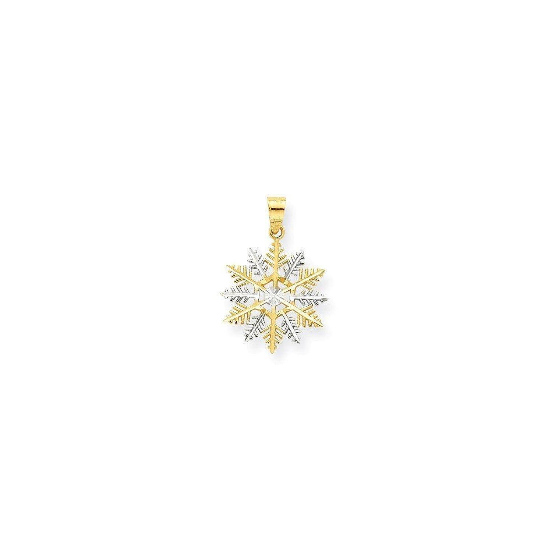 10K Gold & Rhodium Snowflake Charm