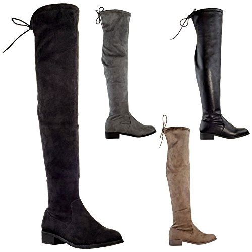 Generation Y Womens Knee High Boots Lace Up Block Heel Over The Knee Riding Boots Gy-WB-Cat Taupe Suede Q6FJ6jTA3