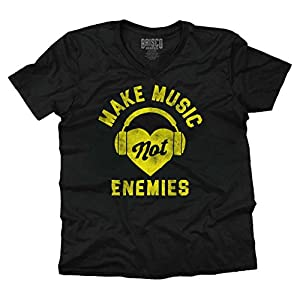 Make Music Not Enemies Funny Shirt   Cool Gift Idea Sarcastic V-Neck T-Shirt