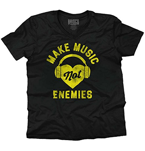 Make Music Not Enemies Funny Shirt | Cool Gift Idea Sarcastic V-Neck T-Shirt