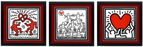Keith Haring Art Poster Set of 3 Custom Framed Prints High Quality Displays (Framed Custom Display)