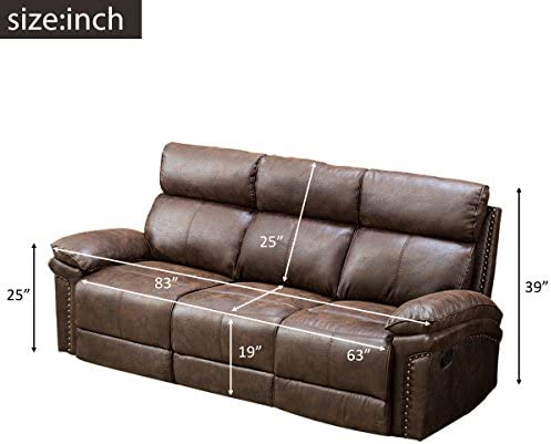 Hooseng Set 3-Seat Chair Reclining Living Room Covered with New-tech Fabric-Sectional Sofa with a Comfortable Cushioned Back and Firm Padding, Brown-2