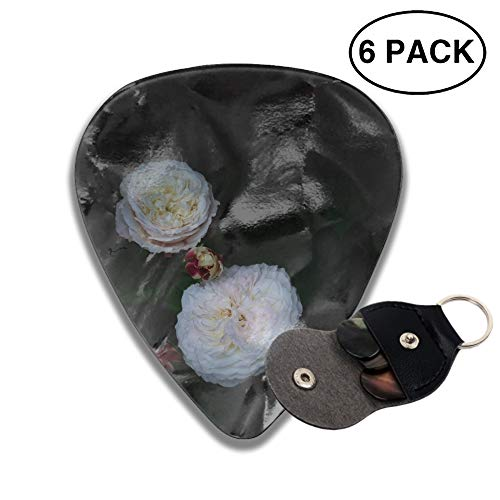 (Roses Buds White Bush Guitar Picks Various Rock Bands Collection 0.46mm 0.71mm And 0.96mm, 6pcs)