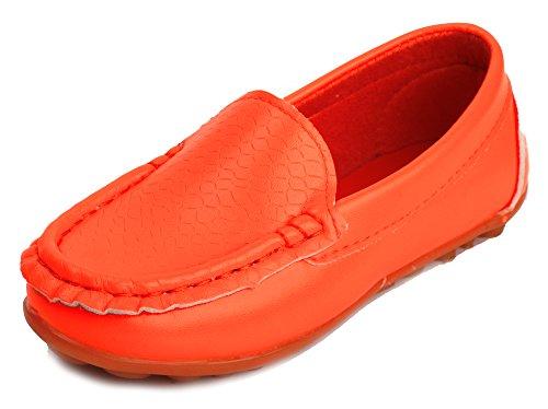 LONSOEN Toddler/Little Kid Boys Girls Soft Synthetic Leather Loafer Slip-On Boat-Dress Shoes/Sneakers,Orange,SHF103 CN35 ()
