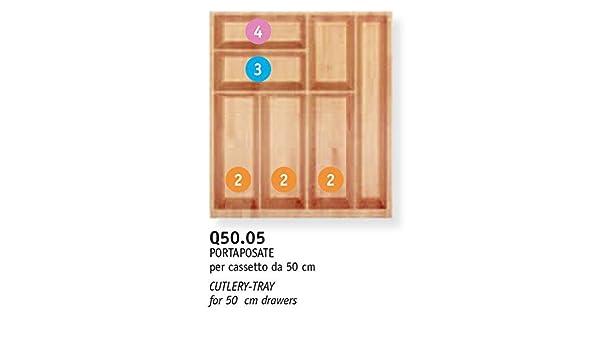 B.Arredo - Cubertero de madera maciza de haya evaporada - 50 cm ...