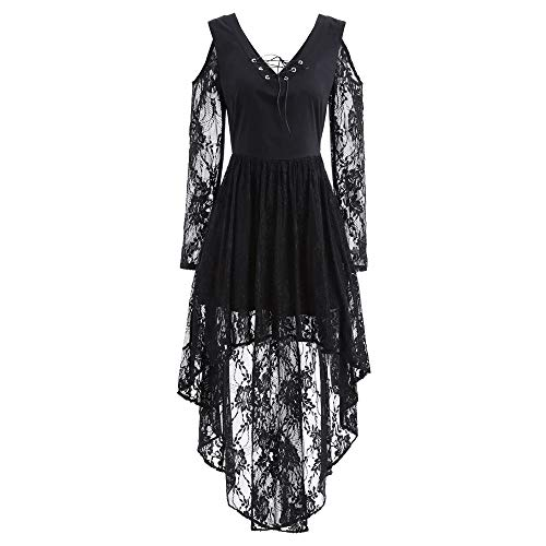 MEANIT Women Halloween Lace Dress, Fall Winter Gown Bat Vintage Printed Cocktail Costume Black]()