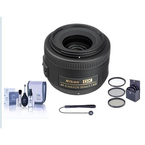 Nikon 35mm f/1.8G AF-S DX AF NIKKOR Lens - Nikon U.S.A. Warranty - Accessory Bundle with 52mm Filter Kit, Lens Cap Leash, Professional Lens Cleaning Kit (Nikon 35mm 1-8 G Or 50mm 1-8 G)