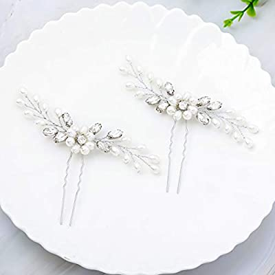 Unicra Bride Wedding Pearl Hair Pins Bridal Flower Hair Pieces Accessories for Women and Girls Pack of 2