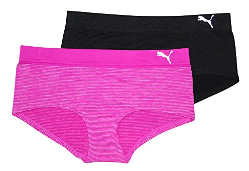 Puma Women's 2-Pack Seamless Super Soft Sport Stretch Hipster Panty, Purple, Small