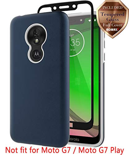 Moto G7 Power Case, Moto G7 Supra Case, with Aoways Tempered Glass Screen Protector, Hard Back Cover + Soft TPU Shockproof Inner Protective Case for Motorola Moto G7 Power - Blue