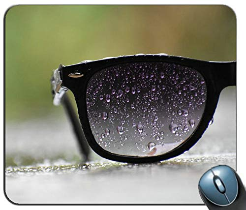 Black Sunglasses with Water Droplets Personalized Rectangle Mouse Pad, Printed Non-Slip Rubber Comfortable Customized Computer Mouse Pad Mouse Mat Mousepad