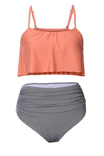 Women Girls 2 Piece Striped Swimsuits High Waisted Bathing Suits Falbala Bikini Sets (XX-Large, Pink) -