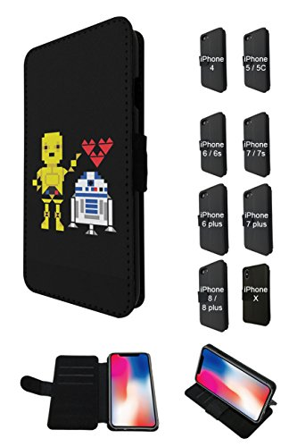003834 - Robots In Love Design iphone 5C Credit Card Flip Case Purse pouch Stand Cover