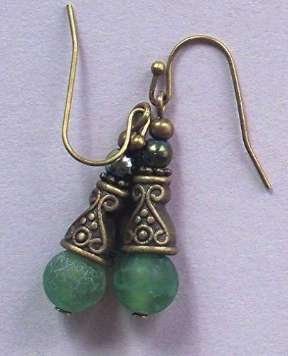 Green Crabfire Agate Bali Style Earring Bronze French Hook Artisan Earrings For Women Set