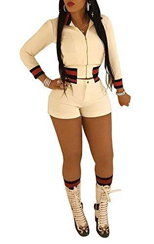 Vamvie Women's 2 Pieces Long Sleeve Front Zip Up Lapel Coat+Shorts Activewear Slim Fit Romper White XL