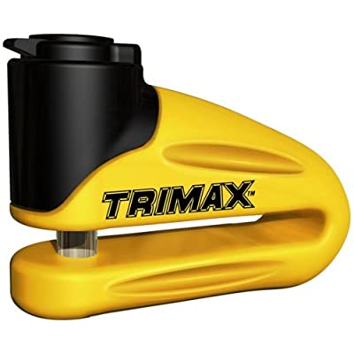 Trimax Yellow Hardened Metal Disc Lock 10Mm Pin (Long Throat) with Pouch & Cable T665LY, Blister Packaging: Automotive