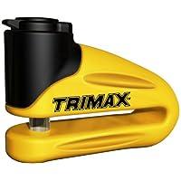Bloqueo de disco de metal endurecido Trimax T665LY - Pin amarillo de 10 mm (garganta larga) con funda y cable de recordatorio