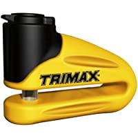 Trimax T665LY Hardened Metal Disc Lock 10mm Pin (Long Throat) with Pouch and Cable, Yellow