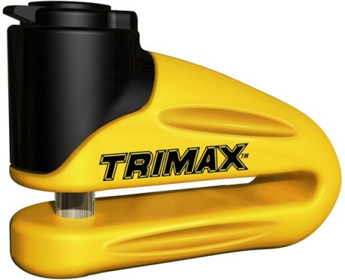 Trimax T665LY Hardened Metal Disc Lock - Yellow 10mm Pin (Long Throat) with Pouch & Reminder Cable by Trimax