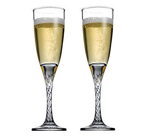 (Crystal Champagne Toasting Flutes, Elegant Champagne Glasses with Twist Design Ideal for Wedding, Party Essentials, Wine Gifts - Set of 2 Stemmed Glass Flutes)