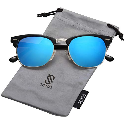 SOJOS Semi Rimless Polarized Clubmaster Sunglasses Half Horn Rimmed Glasses SJ5018 with Black Frame/Blue Mirrored Polarized Lens