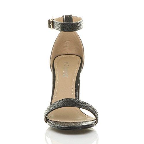 Riemchen Toe Größe Peep Schwarz Hochblockabsatz Sandalen Damen Knöchelriemen Schlange Schuhe Hqc5ABvntw