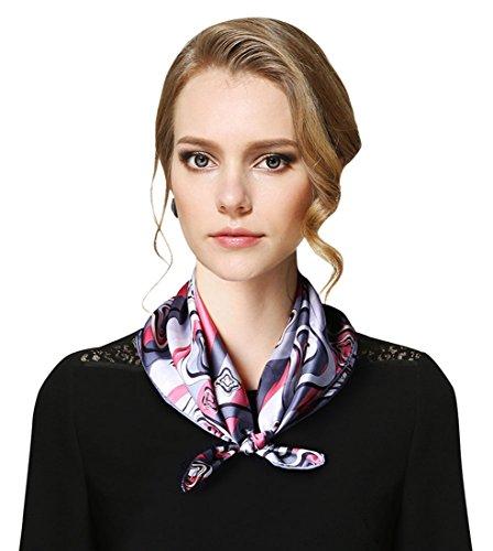 Selighting Fashion Scarves Women's Geometric Print Neckerchief Silk Square Scarfs (One Size (52 x 52cm), - Silk Print Scarf Geometric