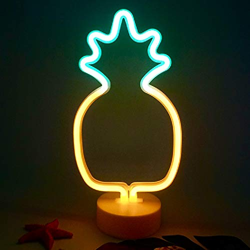 Pineapple Neon Sign Light, Indoor Decorative Art Glowing Night Light Battery Powered for Room Wall Decor Home Party Camping Wedding Festival Bar Decor - Green&Yellow