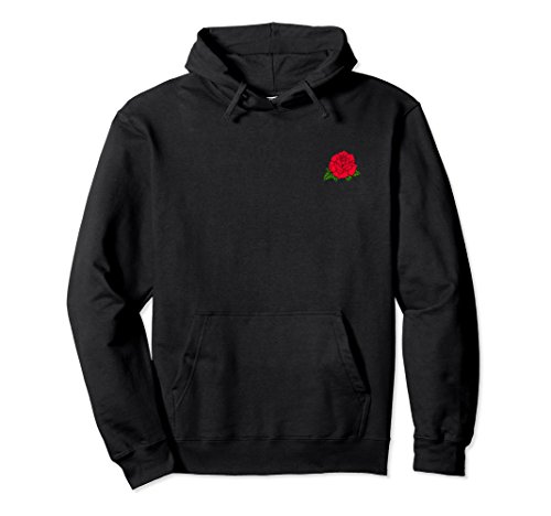 Unisex Red Rose Pocket Patch Pullover Sweatshirt for Men amp Women Medium Black