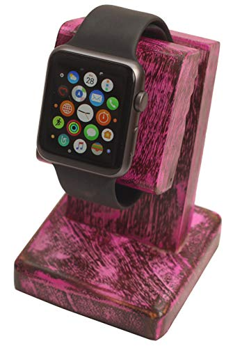 Thanksgiving Christmas Day Best Gifts - abhandicrafts - Mango Wood Polish Wooden Watch Stand/Dock/Station/Platform for All Models/Moms, DADS, Grandparents (Watch Stand Red)