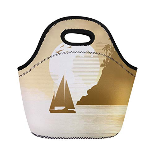 - Semtomn Neoprene Lunch Tote Bag Jungle Sailing Adventure Bird Boat Flying Holiday Leaf Mountain Reusable Cooler Bags Insulated Thermal Picnic Handbag for Travel,School,Outdoors, Work