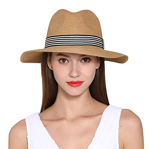 Morsun Wide Brim Fedora Sun Hats for Women, UPF 50, Roll Up Straw Panama Beach Wear -