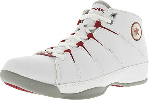 Converse Men's for Three Mid White/Red Ankle-High Leather Basketball Shoe - 13M