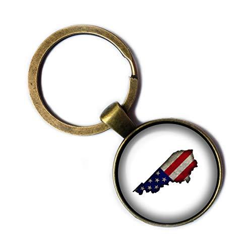United States USA Flag Silhouette Kentucky KY Bronze Keychain Keyring (Silhouette Kentucky)