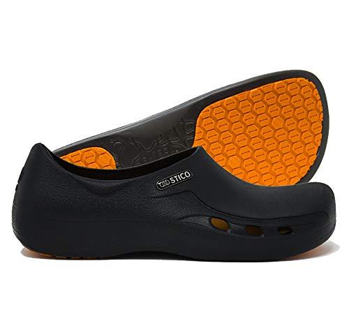 STICO Men's Slip Resistant Chef Clogs, Professional Non-Slip Work Shoes with Air Vents for Restaurant Hospital Nursing Garden [Black/US Men 8] by Stico (Image #6)