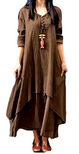 Cotton Women's Long Retro Irregular Dress Sleeve Layered Domple Long Linen 1 qEnSWd8qfw