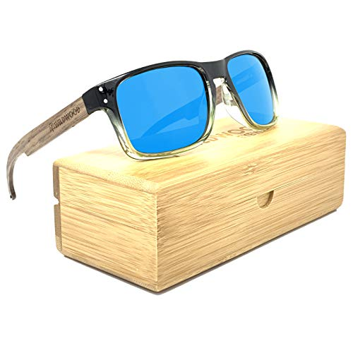 The Laguna Wood Sunglasses for Men with Recycled Frames and Walnut Wooden Arms (Ice Blue Mirror Lenses (Regular Arms))