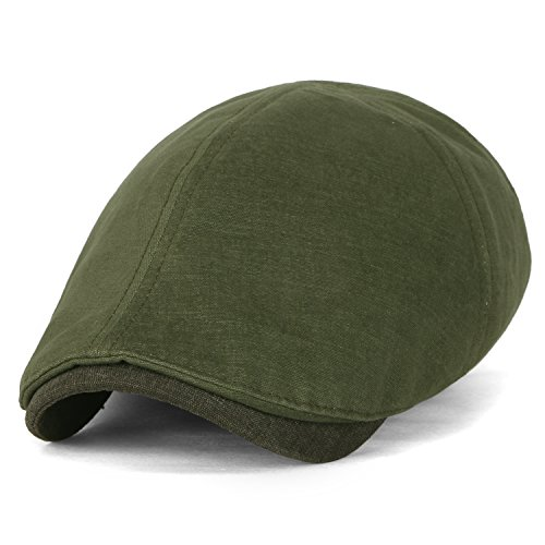 ililily Two Tone Soft Cotton Stretch-Fit Vintage Washed newsboy Hat Flat Cap, Olive Drab