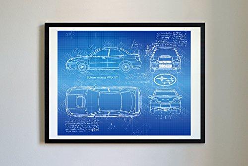 DolanPaperCo #280 Subaru Impreza WRX STi 2004 Art Print, da Vinci Sketch - Unframed - Multiple Size/Color Options (17x22, Blueprint)
