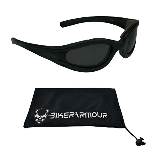 Motorcycle Sunglasses Eva Foam Padded for Smaller Head Sizes. Safety Polycarbonate Smoke Lenses and Free Microfiber Cleaning Case