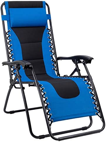Devoko Patio Zero Gravity Chair Outdoor Oversize Padded Recliner Lounge Chair with Adjustable Headrest 300 lbs for Lawn Beach Poolside Blue