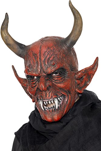 Demon Costumes For Halloween (Smiffy's Unisex Devil Demon Mask, Red, One Size, 25314)