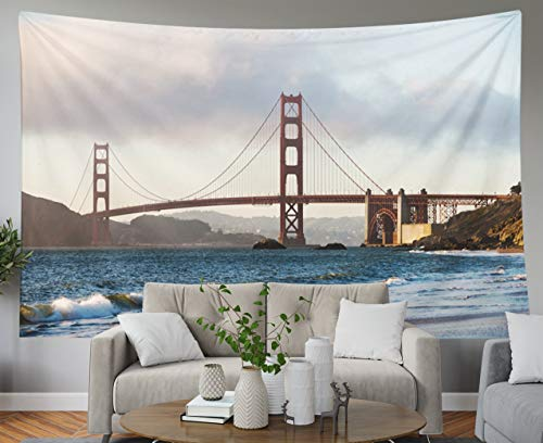 Shorping Blue Tapestries, 80x60Inches Hanging Wall Tapestry for Décor Living Room Dorm of The Golden Gate Bridge from Baker Beach in Presidio San Francisco