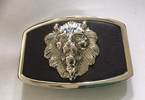 Silver Tone Lion Head Belt Buckle Black Background Western Style #ID-95