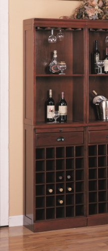 Coaster Traditional Classic Cherry Finished Wall Bar - Furniture Bar Traditional