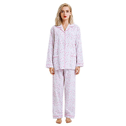 ton Down Pajama Set, Long Sleeve Sleepwear Set with Elastic Pants (L, White with Rose flower print) ()