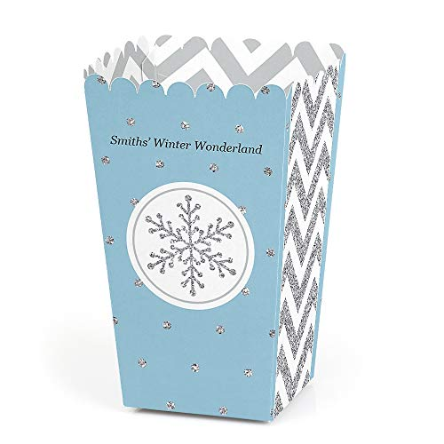 Personalized Winter Wonderland - Custom Snowflake Holiday Party & Winter Wedding Party Favor Popcorn Treat Boxes - Custom Text - Set of 12 -