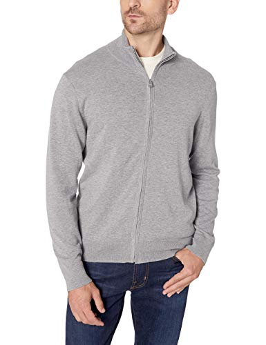 Dockers Men's Long Sleeve Full Zip Sweater, Alum Heather, X-Large Cotton Full Zip Sweater