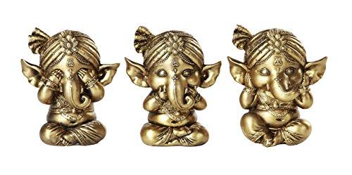 Pacific Giftware Set of Three Ganesha See No Evil Hear No Evil Speak No Evil Decorative Shelf Sitter Figurines 4 inch tall Gold Finish]()