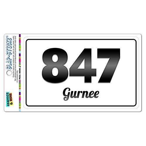 Area Code B&W Window Laminated Sticker 847 Illinois IL Algonquin - Vernon Hills - Gurnee (City Of Gurnee Il)